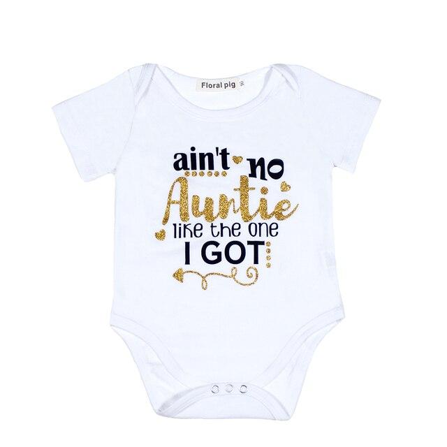 b6419df40 Auntie Baby Clothes Golden Letter Baby Bodysuit White Onesie Unisex ...