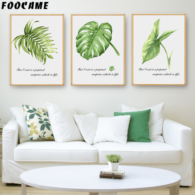 Watercolor Green Plants Monstera Nature Posters And Prints: FOOCAME Green Tropical Plant Leaves Monstera Posters And