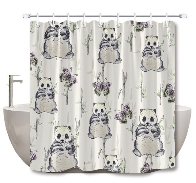 Us 13 21 39 Off Lb Funny Cute Green Hand Painted Bamboo Panda Bathroom Shower Curtain Butterfly Nature Waterproof Fabric For Kids Bathtub Decor In