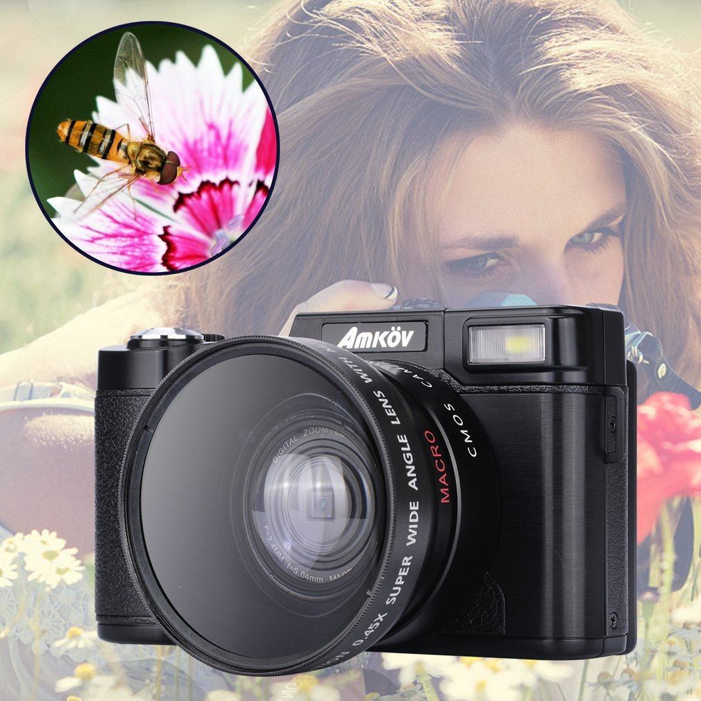 все цены на AMKOV New Come Out CDR2 24MP 1080P Mini Digital Camera with 4 Times Digital Zoom & 3
