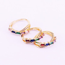 6Pcs Gold filled paved multicolor rainbow cz finger ring for party wedding gift 2019 latest new arrived Zirconia jewelry