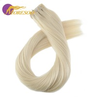 Moresoo Remy Tape Hair Extensions Real Brazilian Human Hair Skin Weft Pure Color Tape in Hair 20PCS 50G