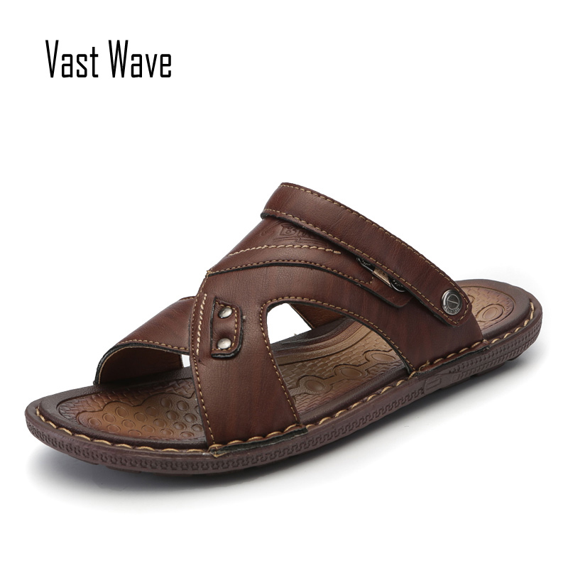 VASTWAVE Classics Summer Shoes Men Slippers Quality Split Leather Sandals For Men Comfortable Flip Flops Men Beach Sandals