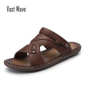 Image 1 - VASTWAVE Classics Summer Shoes Men Slippers Quality Split leather Sandals For Men Comfortable Flip Flops Men Beach Sandals