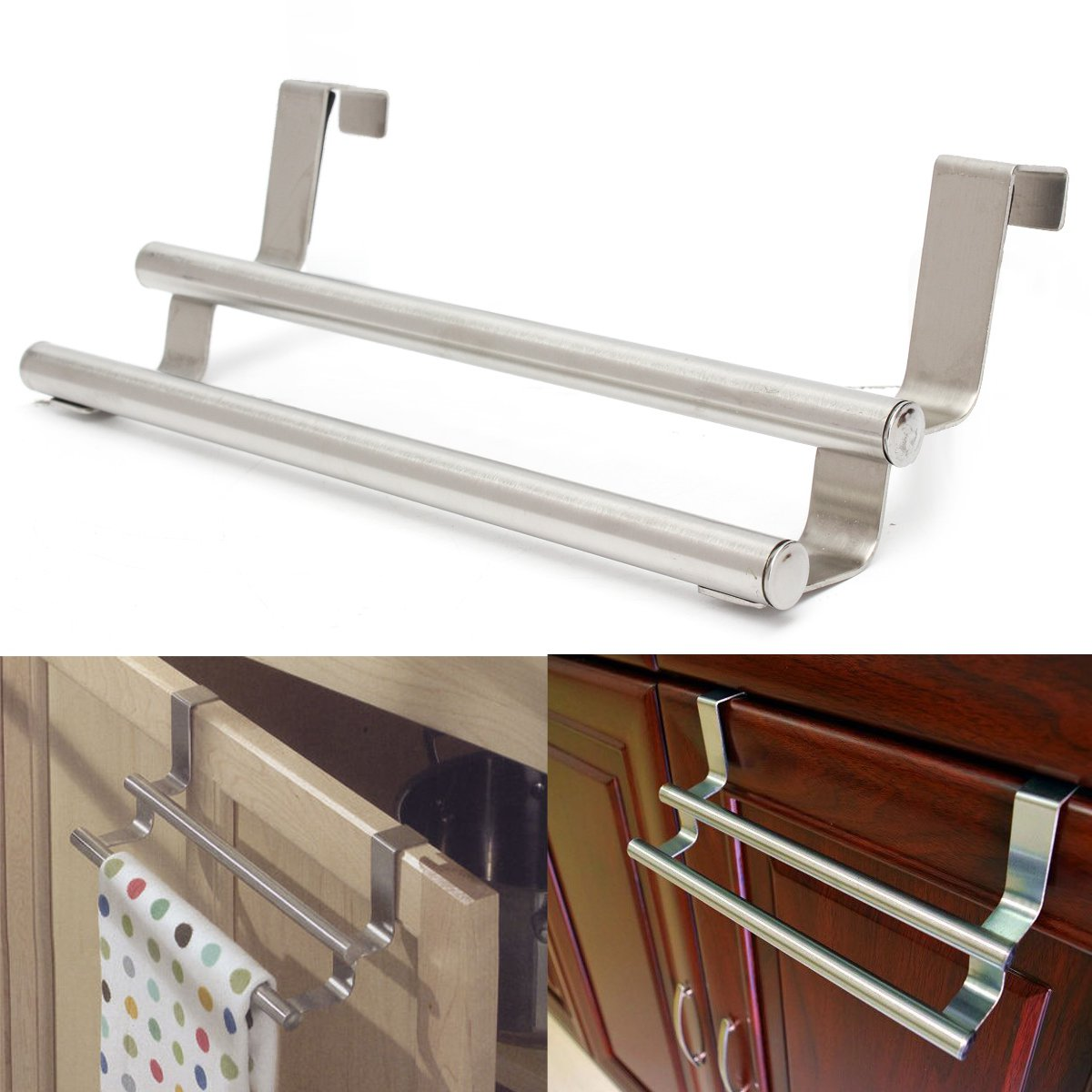 Stainless Steel Double Rail Towel Storage Bar Over The Door Cabinet ...