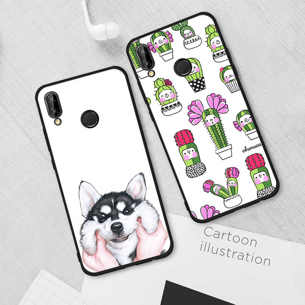 Soft Case Capa untuk Huawei P20 Plus P20 P10 Lite Mate 10 Lite P9 P8 2017 Space Man Kucing dan taiji Ikan Hitam Shell Cover Capa Tas