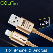 Golf 2.1A Original Charger 1m 2m 3m Long USB Cable For iPhone 7 5 5s 6s 6 i6 i5 iPad 4 Fast Charge Micro USB Mobile Phone Cable