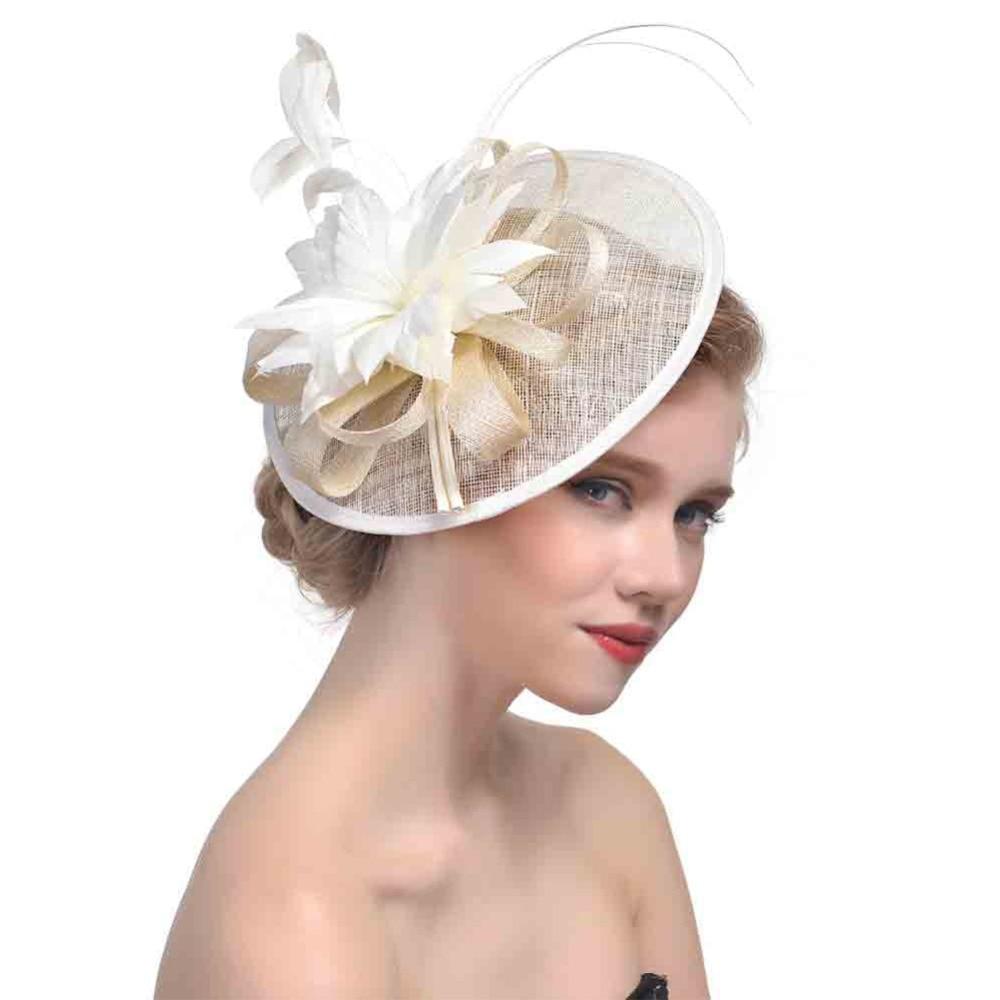 6b68c3ca65ec0 Vintage Bridal Feather Fascinator Hair Clip Kentucky Derby Wedding Cocktail Fascinator  Hat Church Pillbox Hat