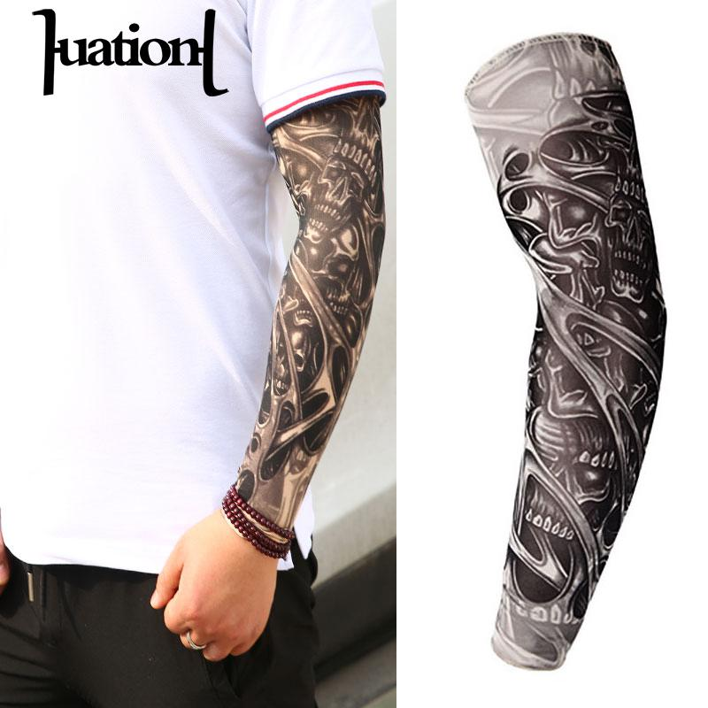 Huation 2019 1 pc Man Tattoo Arm  UV Running Cycling Sports Warmers Basketball Arm Sleeves  Elasticity Compression Arm Warmer jaket kulit zara woman
