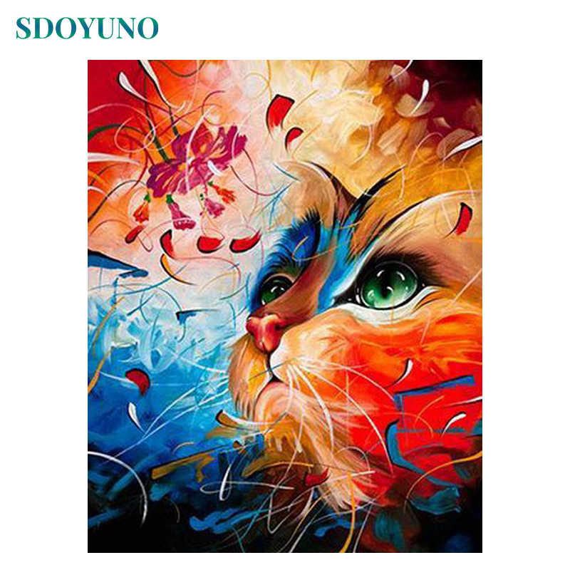 SDOYUNO 60x75cm Frame DIY Painting By Numbers Color Cat Animals Paint By Numbers for kids on canvas Picture For Home Decor