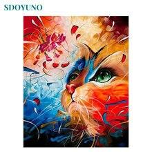 Sdoyuno 60x75cm рамка diy Краска ing по номерам цветная кошка