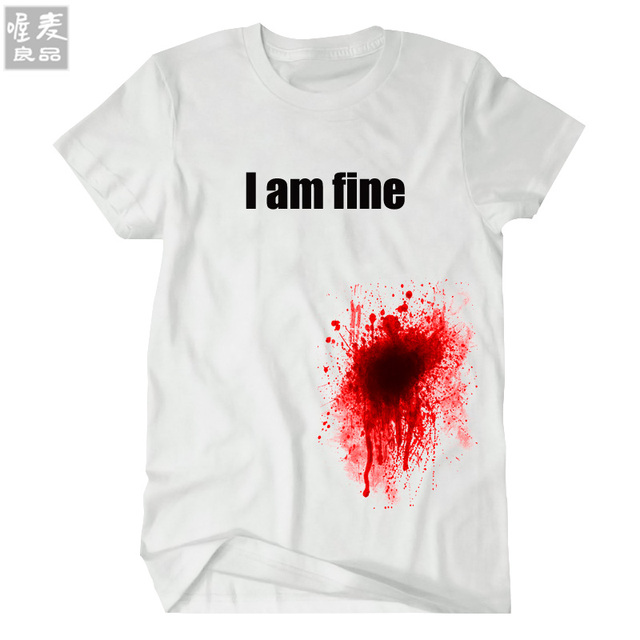 2017 newest design Cool and cute summer short sleeve men's women's  funny t-shirts tee fashion Get shot I am fine blood gift