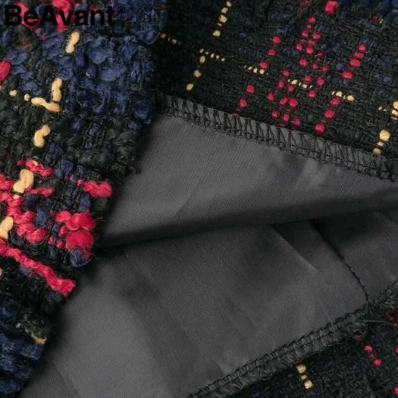 Image 5 - BeAvant Elegant plaid tweed women winter dress 2018 Warm long sleeve mini dress casual Ladies tassel bodycon office dress femaleDresses   -
