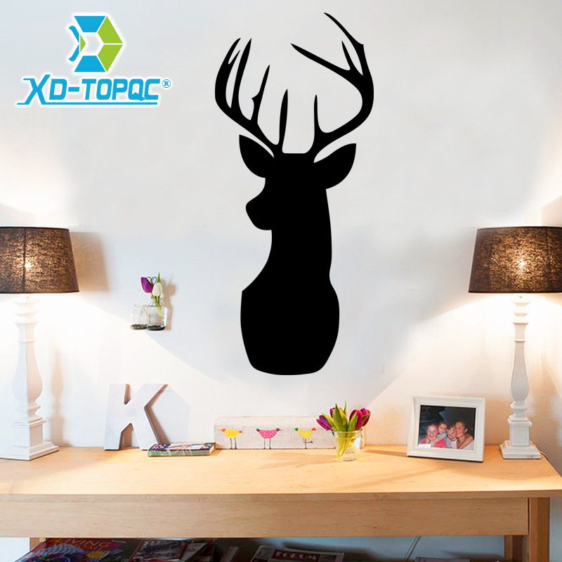 New Pizarras Black Board Sticker Cartoon Deer Living Room Stickers Decorative Left Black Decals ChalkBoard 25*58cm