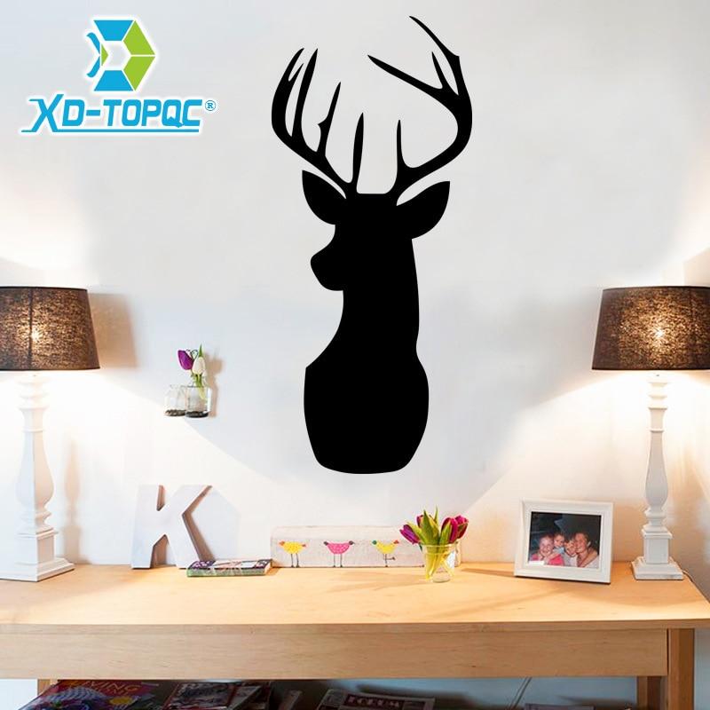 New Pizarras Black Board Sticker Cartoon Deer Living Room Stickers Decorative Left Black Decals ChalkBoard 25*58cm