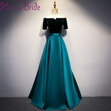 Robe De Soiree Contrast Color Black Green Satin Evening Dress Bride Banquet Boat Neck Floor Length Plus Size Party Prom Dresses(China)