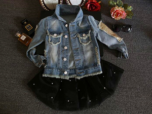 Image 3 - New 2017,Girl Jackets,Girls Denim Outercoat,Children Outerwear,Spring and Autumn Clothes,Kids Jeans Clothes,For 1 12T