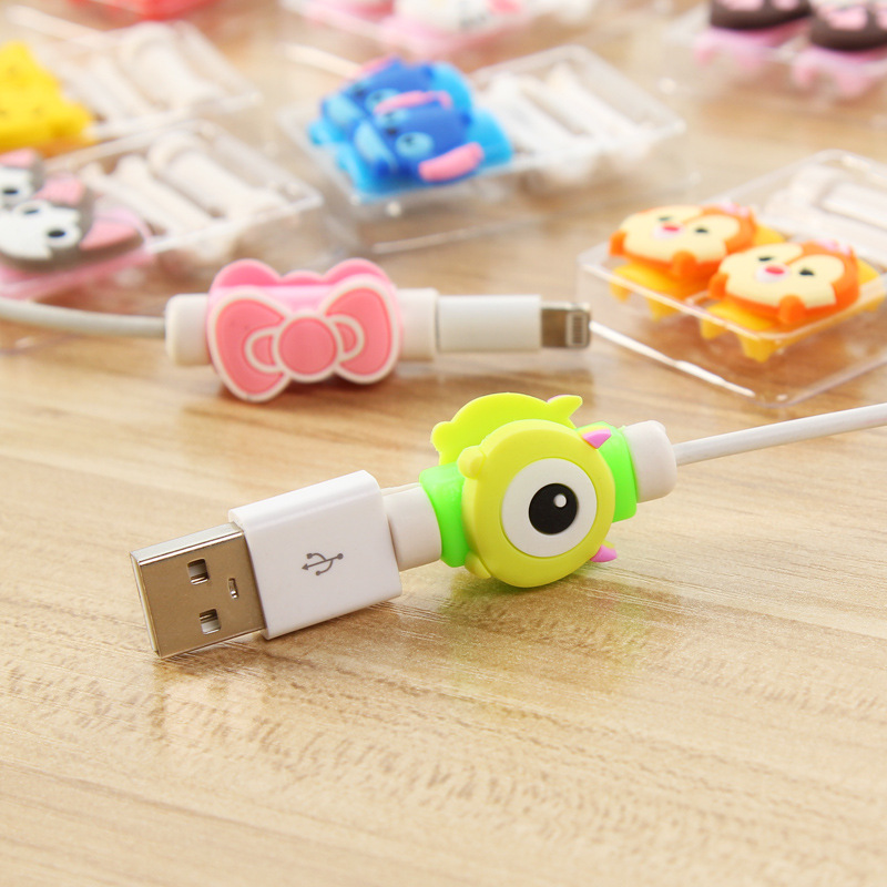 1 Cartoon 8 Pin Cable Protector de cabo USB Cable Winder Cover Case For IPhone 5 s SE 6 6s 6splus 7 7S plus cable Protect stitch 5