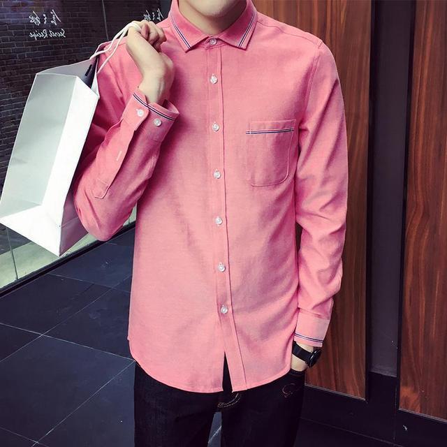 XXXXXL Nueva Moda Casual Para Hombre Camisas de Manga Larga de Color Soporte Slim Fit Camisa de Los Hombres Hombres de Negocios de Ropa en Smoking de Los Hombres camisas
