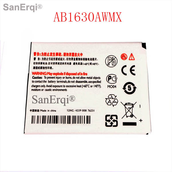 SanErqi battery For PHILIPS W536 W635 W6350 cellphone AB1630AWMX battery for CTW536 Xenium mobile phone battery