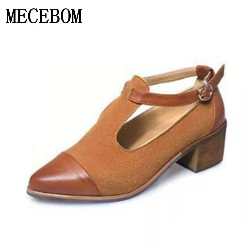 2017 Women Pointed Toe Oxfords British Style Low Heels Patchwork Buckle Oxford Shoes Casual Vintage Shoes Fashion Heels 0430W new 2015 autumn flat t strap oxford shoes for women vintage british style round toe low thick heels women oxfords shoes woman
