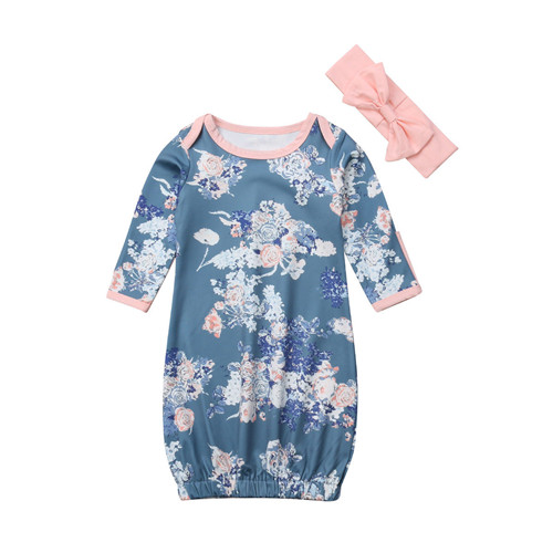 Newborn Swaddle Muslin Blanket Baby Soft Swaddling Blanket Cotton Floral Printed Long Sleeve Wrap Long Sleeve Cotton Headband