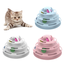 Funny Cat Pet Toy Interactive Toys Intelligence 4 Layers Play Disc Turntable Balls Crazy Ball Disk Product