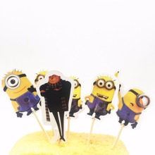 24pcs Minions Cupcake Inserts Card Kids Birthday Baby Shower Party Supplies Cake Toppers Cakes Decoration