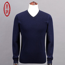 Sweater Man 100% Pure Cashmere Knitted Winter Warm Pullovers V-neck Long Sleeve Standard Sweaters Male Jumper 3 Color Puls Size
