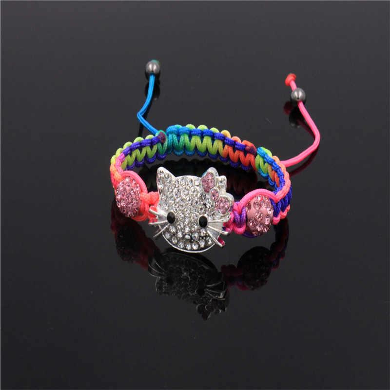 Pulseras de cristal con cabeza de gato para niños, pulseras de Shambala bonitas, pulseras de hilo para niñas, regalo de joyería