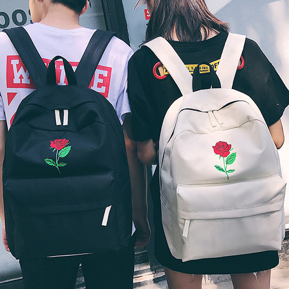 Men Canvas Heart Backpack Cute Women Rose Embroidery Backpacks For  Teenagers Women's Travel Bags Mochilas Rucksack