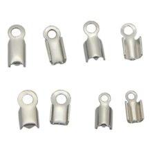 100 pçs/lote extremidade do cabo de aço inoxidável tampões crimp tom prata grânulos prendedor conector ajuste diy couro cabo jóias descobertas