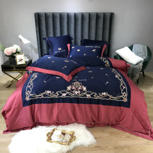Luxury European Palace Style Royal Flowers Embroidery Washed Silk Cotton Bedding Set Blue Red Duvet Cover Bed sheet Pillowcases