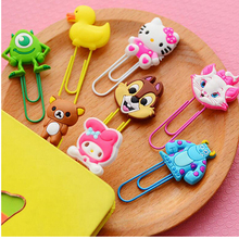20pcs/lot Cute Creative Silicone Cartoon Design Metal Paper Clip DIY Multifunction Bookmark Office School Supplies Free Shipping