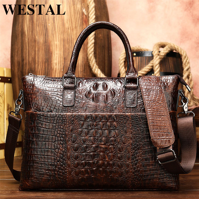 WESTAL Men Briefcase Men's Bag Genuine Leather Office Bags For Men Laptop Bag Leather Briefcase Men Croco Design Computer Bags