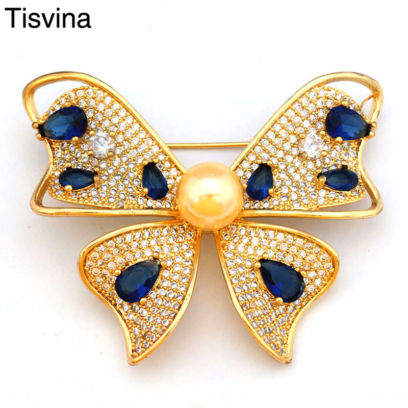 Tisvina Butterfly brooches With Colored crystal Insect Brooch for women Corsages Sweater Suit Accessories Pins Fashion jewelry