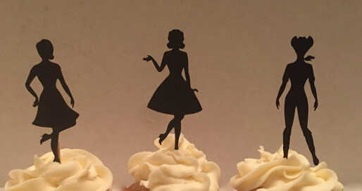 Sensational Glitter 50S Pin Up Girl Silhouette Cupcake Toppers Bachelorette Funny Birthday Cards Online Sheoxdamsfinfo