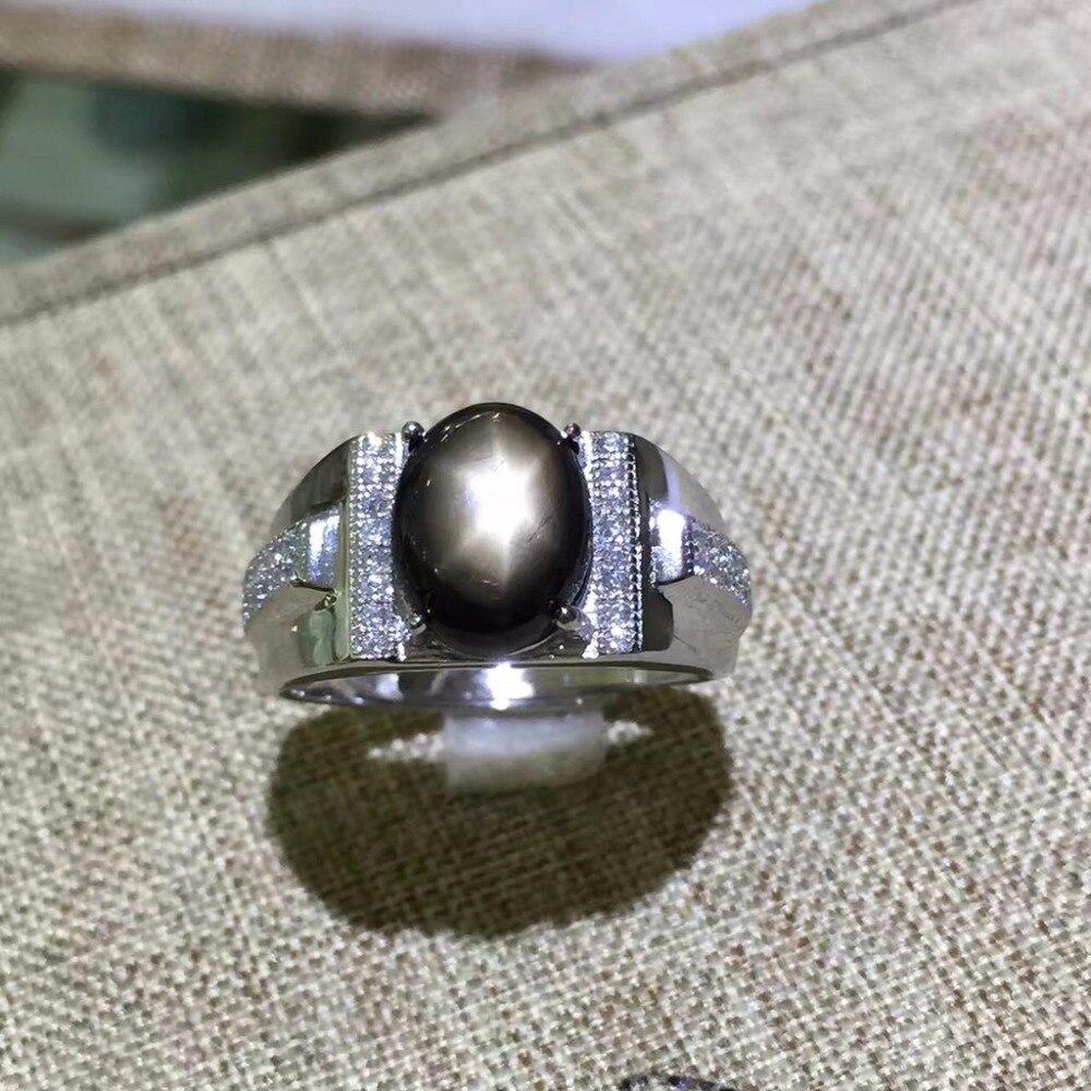 KJJEAXCMY fine bijoux 925 sterling argent avec naturel star sapphire bague en or avec petit et en forme de fleurs