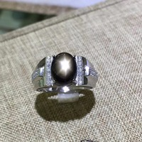 KJJEAXCMY fine jewelry 925 sterling silver with natural star sapphire gold ring with small and shaped flowers