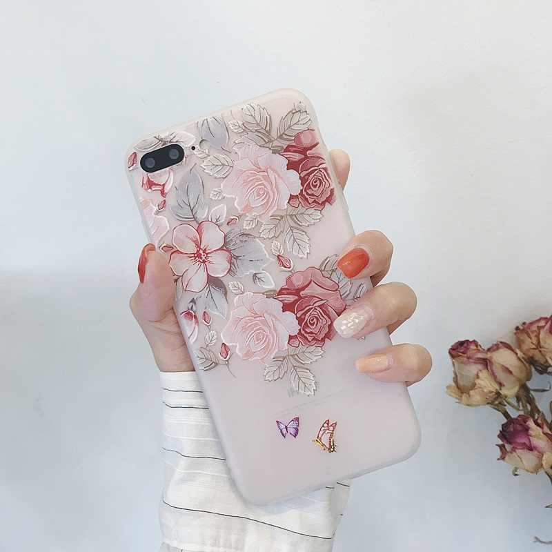 Cứu trợ 3D Hoa Ốp Lưng Điện Thoại Cho Iphone X XR XS Max 7 8 Plus 6 6 S Cúc Hoa Mềm Mại ốp Lưng silicon Trường Hợp Dành Cho IPhone 6 S