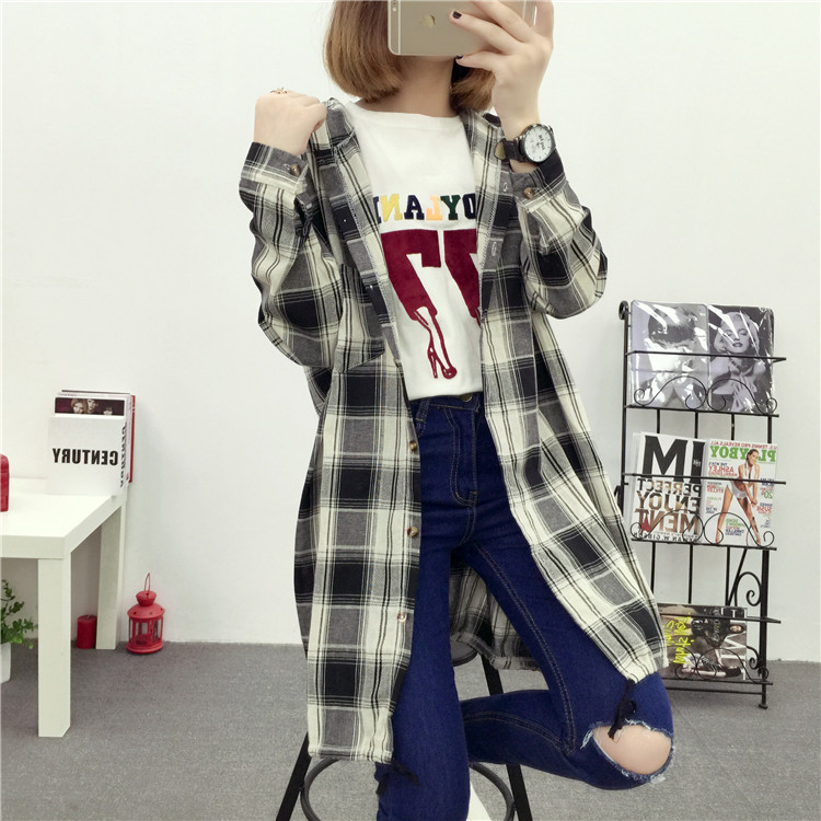 Brand Yan Qing Huan 2018 Spring Long Paragraph Large Size Plaid Shirt Fashion New Women's Casual Loose Long-sleeved Blouse Shirt 30