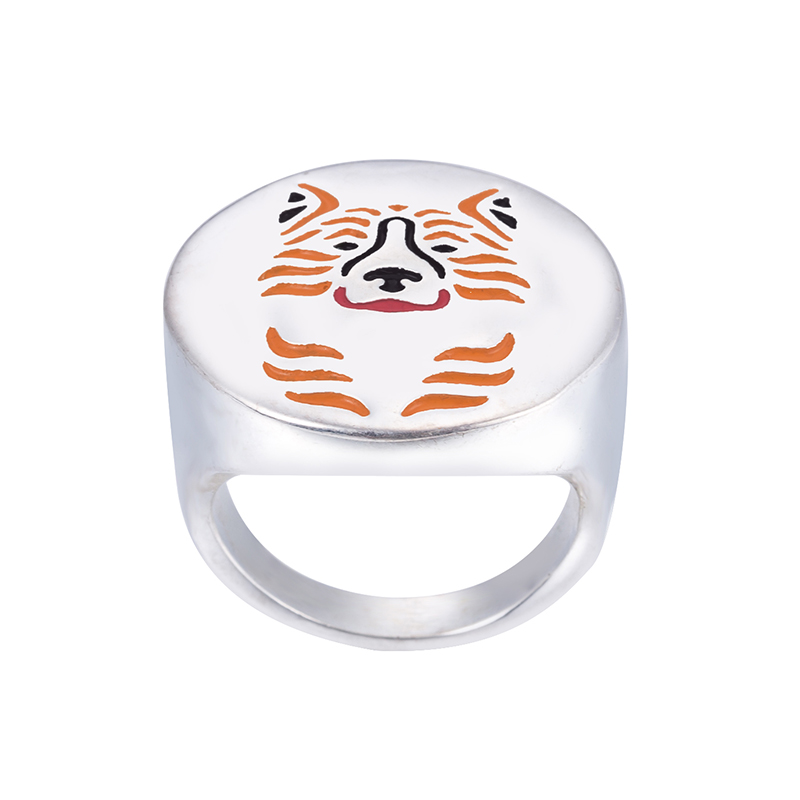 Wholesale Karelian Bear Dog ring with color selection enamel jewelry lovers and owners Pet free ship 12Pcs/Lot