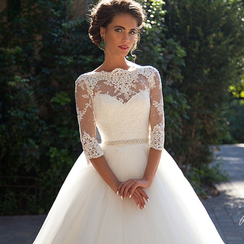 Vestido De Noiva De Renda Three Quarter Sleeves Princess Wedding Dress With Crystal Belt 2017 Vintage Ball Gown Wedding Gowns 5