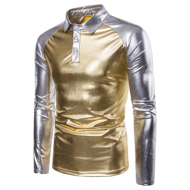 Цвета: золотистый, серебристый яркая рубашка-поло Для мужчин осень-зима бренд Для мужчин рубашки поло с длинным рукавом Повседневное мужские рубашки Для мужчин рубашки поло s-XXL
