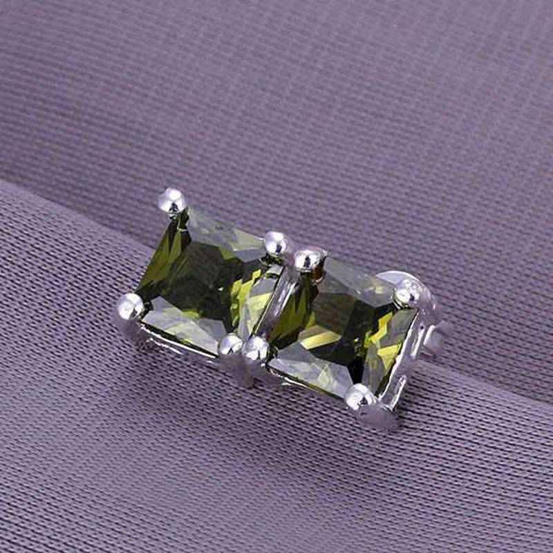 Fashion Perhiasan untuk Wanita 925 Berlapis Perak Perhiasan Square Anting-Anting E234/YBOIIFXKE234 Qmbotuzm