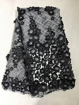 2018 High Quality Peach French Mesh Lace Black African 3D Lace Fabric Sewing Accessories Nigerian Lace For Dedding Dress JL093