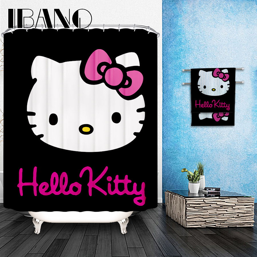 Hello Kitty Shower Curtain Pattern Customized Waterproof Bathroom Fabric 165x180cm For In Curtains From Home