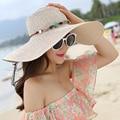200 UNIDS/LOTE 2017 Nuevas de La Manera Mujeres Del Sombrero Del Sol del Verano Plegable sombrero de Paja Para Las Mujeres Beach Headwear Top