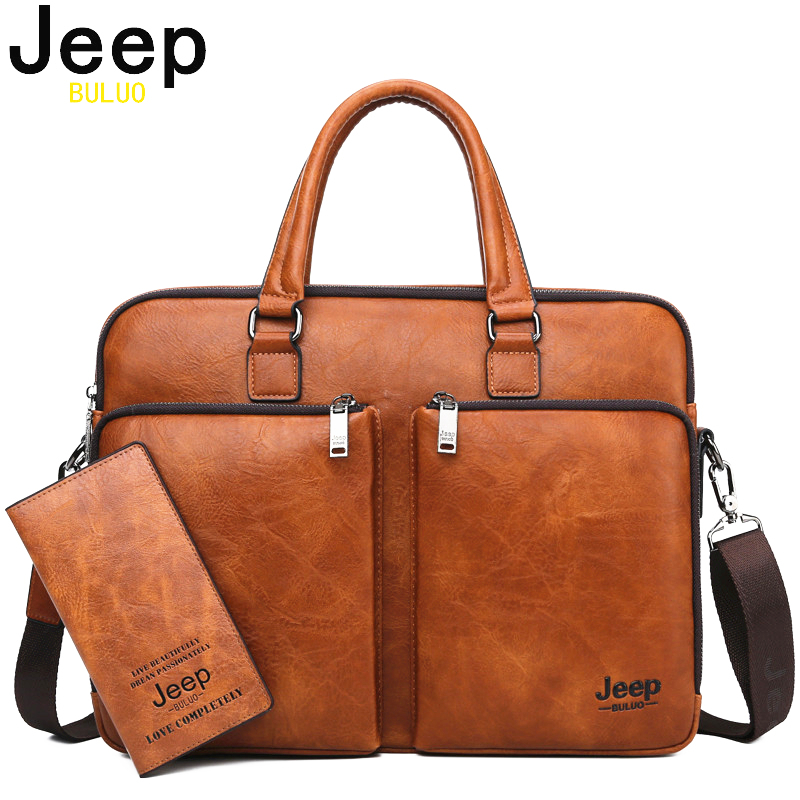 JEEP BULUO Brand Man Briefcase Large Capacity Leather Casual Shoulder Bag For Men Laptop Business Bags Handbags High-end New