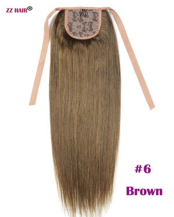 """ZZHAIR 80 г 1""""-24"""" машинное производство remy волосы лента Конский хвост на заколках человеческие волосы для наращивания конский хвост Натуральные Прямые Волосы - Цвет: #6"""